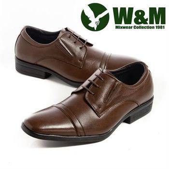 【W&M】紳仕雅痞綁帶皮鞋男鞋-咖