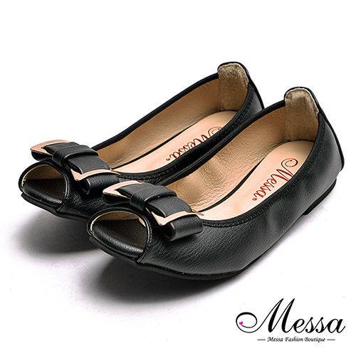 【Messa米莎專櫃女鞋】MIT柔軟彎曲蝴蝶結內真皮平底魚口鞋-黑色