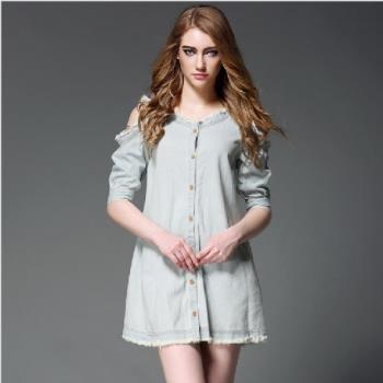 (現貨+預購 RN-girls)-【OL60691】歐美春夏新款時尚露肩牛仔A字連身裙