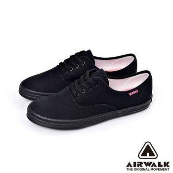 【美國 AIRWALK】繽紛馬卡龍純棉帆布鞋─女-神祕黑