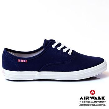 AIRWALK繽紛馬卡龍純棉帆布鞋-女-丈青藍
