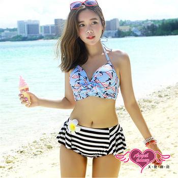 天使霓裳 泳衣 衝浪甜心 兩件式繞頸泳裝(藍彩M~XL)-GM6066