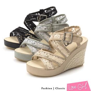 Love Girl戀夏唯美蕾絲交叉透膚楔型涼鞋