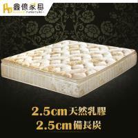 ASSARI-典藏機能5CM乳膠備長炭三線強化側邊獨立筒床墊(單人3尺)