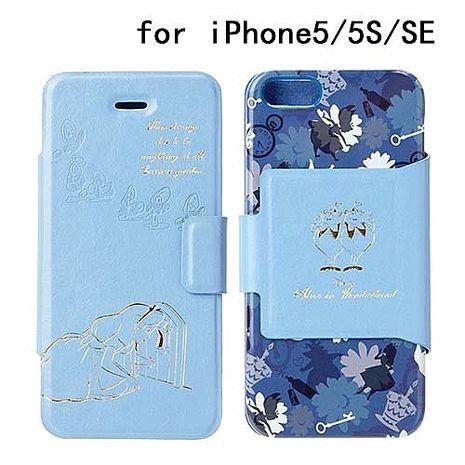 iJacket 迪士尼 iPhone SE/5/5s 金箔壓花 側翻式皮套 - 愛麗絲夢遊仙境