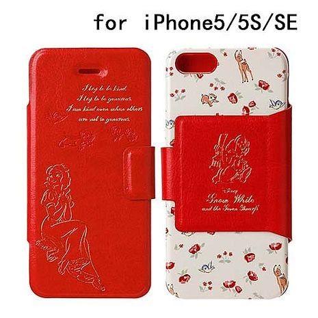 iJacket 迪士尼 iPhone SE/5/5s 金箔壓花 側翻式皮套 - 白雪公主