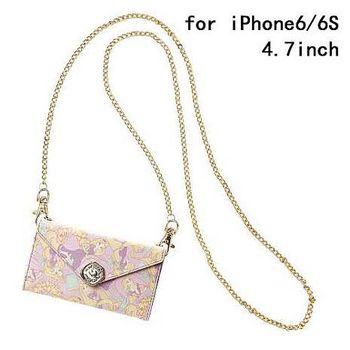 iJacket 迪士尼 iPhone 6/6s 4.7吋 信封系列 折疊式側掀皮套 附掛鍊 - 長髮公主