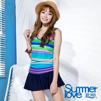 【SUMMERLOVE夏之戀】熱情艷夏褲連裙長版二件式泳衣(S16732)