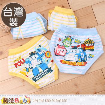 魔法Baby 男童內褲 台灣製POLI授權正版男童純棉三角內褲(四件一組)~k50130