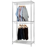 【莫菲思】百變金鋼-雙吊桿三層衣櫥架90x45x195cm