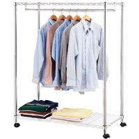 【莫菲思】百變金鋼-二層附輪衣櫥架120x45x140cm