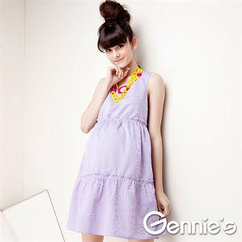 【Gennie's奇妮】後背縷空春夏孕婦背心洋裝-(G2301)-2色可選