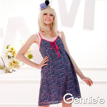 【Gennie's奇妮】小花配色細肩帶春夏孕婦洋裝-藍(G1307)-2色可選