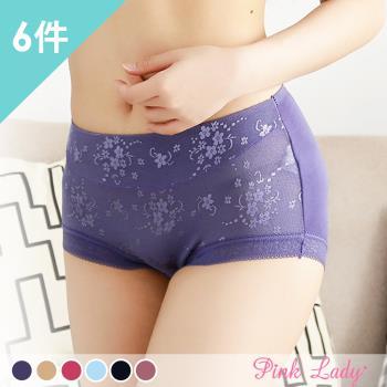 【PINK LADY】親密肌膚首選~蠶絲花漾包臀中高腰內褲 5395(6件組)