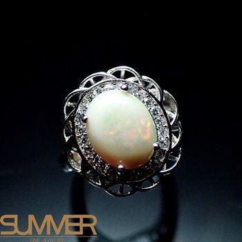 【SUMMER寶石】設計款天然蛋白石戒指(時尚設計款-925銀) (AF-2)