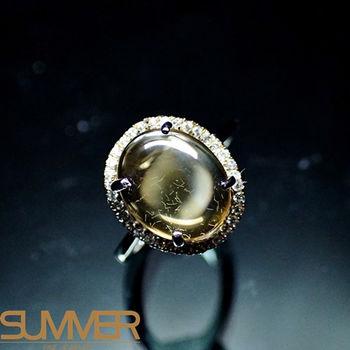 【SUMMER寶石】天然優雅迷人黃水晶戒指(925銀)