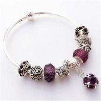 【米蘭精品】925純銀手鍊潘朵拉元素水晶飾品浪漫紫色潮流73bo8