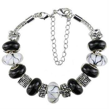 【米蘭精品】潘朵拉元素手鍊925純銀琉璃飾品黑白系列時尚百搭73ay24