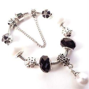 【米蘭精品】925純銀手鍊潘朵拉元素水晶琉璃飾品珍珠吊墜73bo68