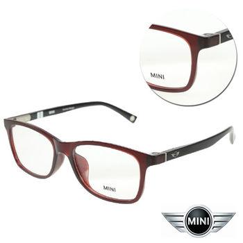 【MINI】復古長方紅色亮黑膠框光學眼鏡(A M58010-061)