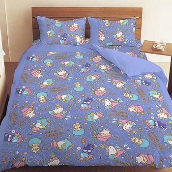 【享夢城堡】三麗鷗 55週年太空風系列-雙人床包薄被套組(粉)(藍紫)