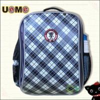 【UnMe】單層格紋後背書包(藍菱色)
