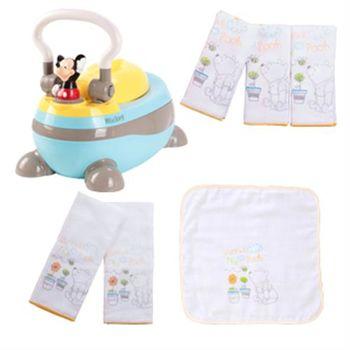 【ViVibaby】Disney米奇/米妮/維尼三用便器組(迪士尼便器+手帕+雙面手帕+澡巾)