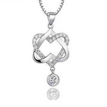 【米蘭精品】925純銀項鍊愛心吊墜情人節必備優雅時尚交叉銀飾