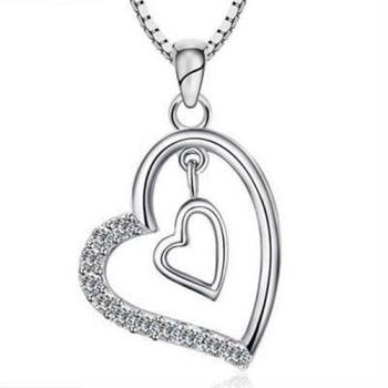 【米蘭精品】925純銀項鍊雙心吊墜情人節獨特精緻風格銀飾