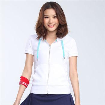 【TOP GIRL】彈性舒適連帽短袖外套-白