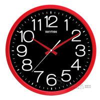 【RHYTHM日本麗聲】經典時尚大數字黑面14吋超靜音掛鐘(搖滾紅黑)