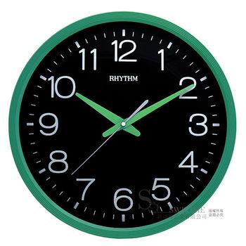 【RHYTHM日本麗聲】簡約時尚黑色面板14吋超靜音掛鐘(時尚綠黑)