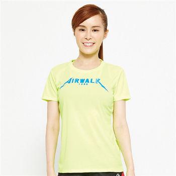 AIRWALK(女) -  追風急速吸濕排汗圓領T -螢黃