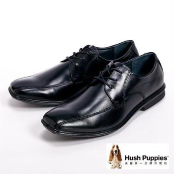 Hush Puppies ENERGY 能量系列尖頭綁帶皮鞋男鞋-黑