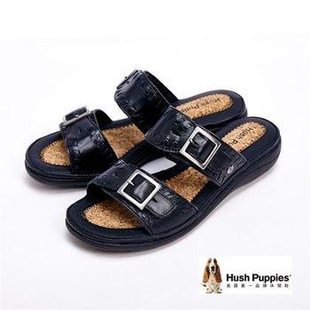 Hush Puppies 彈力舒適民俗風械型涼鞋-黑(另有棕)