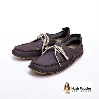 Hush Puppies 簡約有型 經典款綁帶式 男鞋-灰(另有咖)