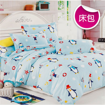 【R.Q.POLO】企鵝家族 絲棉柔-雙人標準床包枕套組(5X6.2尺)