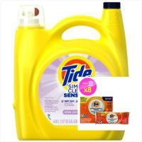 Tide汰漬 美國濃縮洗衣膏敏弱肌膚專用138oz+洗衣槽清潔劑75g(8包)