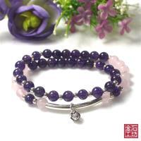 【金石工坊】旺桃花貴人粉晶紫水晶手鍊(6mm)