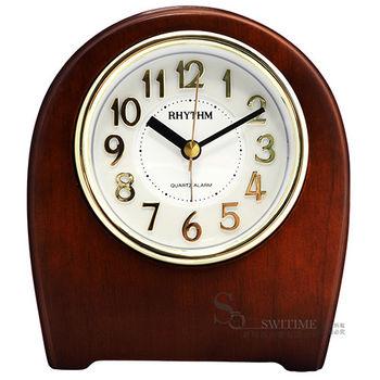【RHYTHM日本麗聲】歐式復古風紅棕實木座鬧鐘