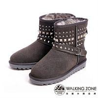 【WALKING ZONE】經典鉚釘造型內刷毛雪靴-灰