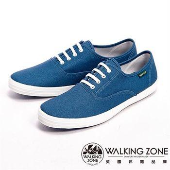 【WALKING ZONE】純棉帆布休閒男鞋-牛仔藍