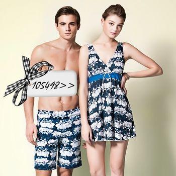 【蘋果牌】V型美胸款式時尚連身裙泳裝NO.105498(現貨+預購)