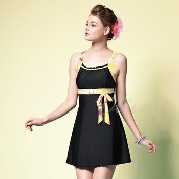 【蘋果牌】胸前抓皺美胸款時尚連身裙泳裝NO.105436(現貨+預購)