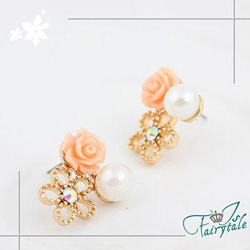 【伊飾童話】薔薇花意*鏤空心型珍珠耳環