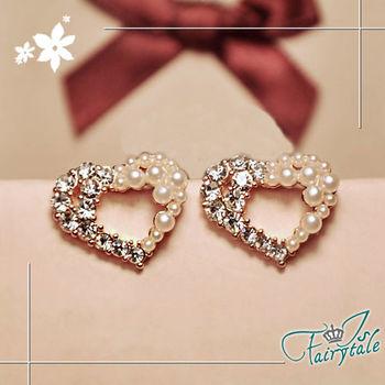 【伊飾童話】珍珠半心*鏤空心型鑲鑽耳環