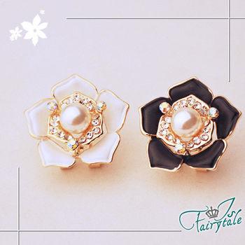 【伊飾童話】彩鑽珍珠花*消光塗料耳環/白