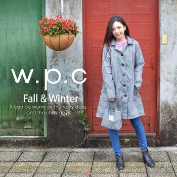 【w.p.c.】寬版格紋款。時尚雨衣/風衣(R1016)_黑白格