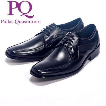PQ 線條流線設計繫鞋帶皮鞋男鞋-黑