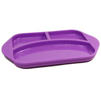 【MARCUS&MARCUS】動物樂園矽膠兒童餐盤-鯨魚(紫)-行動
